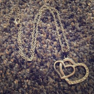 Rhinestone Double Heart Pendant